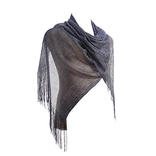 Evening Gold Shimmer - Womens Sheer Bridal Weddings Party Evening Shawl Wrap Fringed Sparkle shiny Scarf (Metallic Navy)