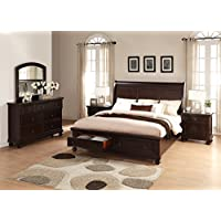 Roundhill Furniture Brishland Storage Bedroom Set Includes Dresser, Mirror and 2 Nighstands, King Bed, Rustic Cherry