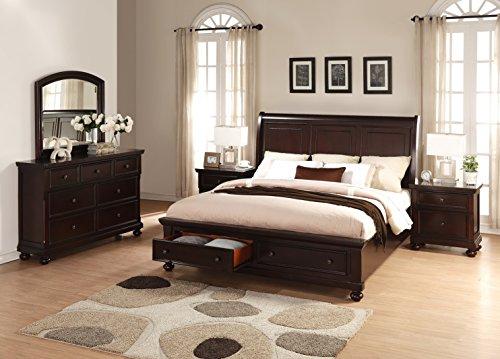 Brishland Rustic Cherry Storage Bedroom set, Queen Bed, Dresser, Mirror and 2 Nighstands by FurnitureMaxx