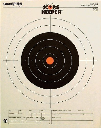 Champion Score Keeper Fluorescent Orange Bull 100-yard Small Bore Rifle Target (Pack of 12)
