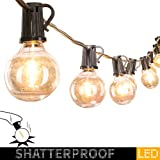 25Ft. LED G40 Outdoor Patio String Lights with 25 Shatterproof LED Clear Globe Bulbs, Warm White Ambience Indoor & Outdoor Lights for Patio Garden Backyard Bistro Pergola Tents Gazebo Decor,Black Wire