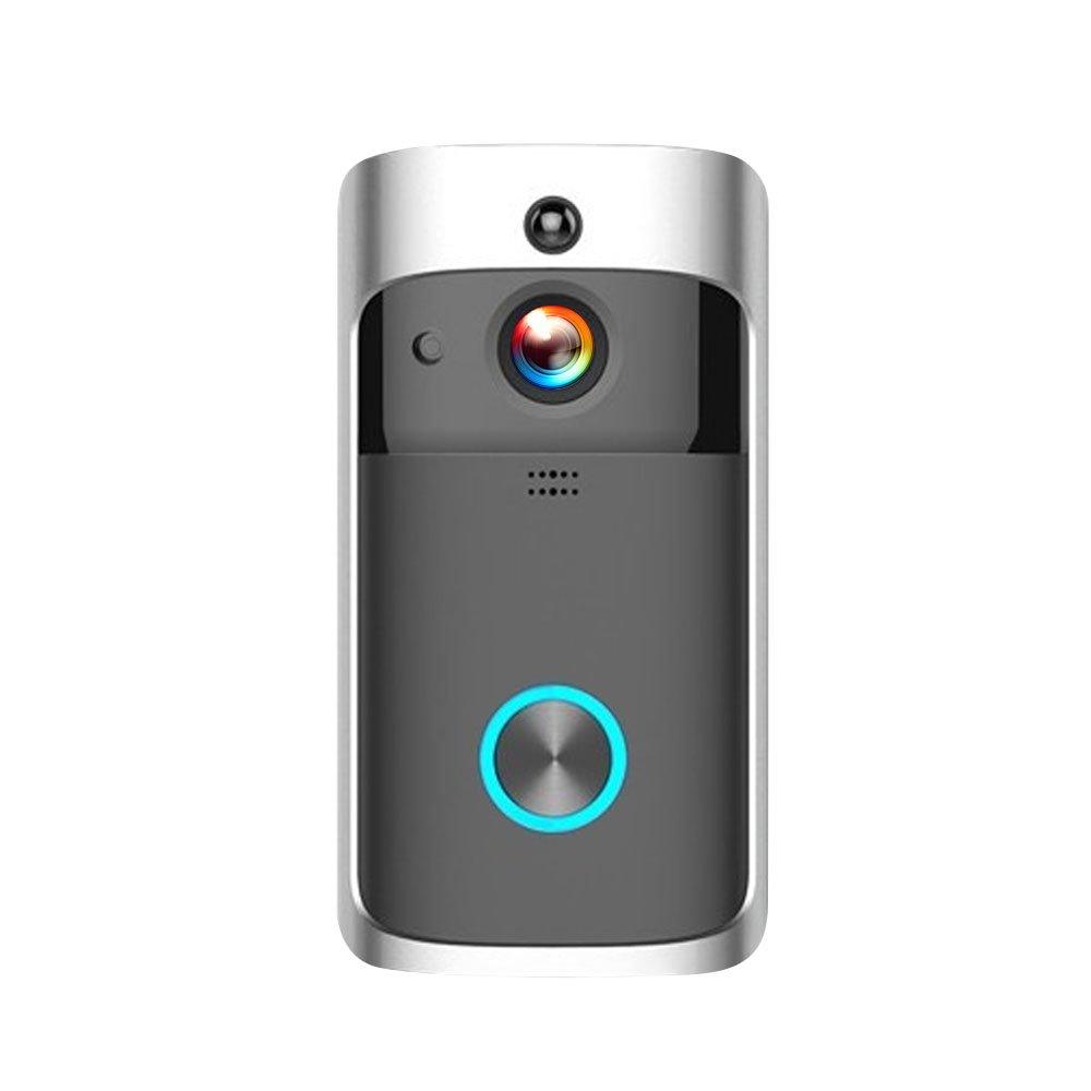 OWSOO Visuelle Türklingel 720P HD Smart WiFi Wireless Security Intercom-Aufnahme Video-Türsprech Fernbedienung Home Überwachung Nachtsicht, Eingebaute 32G TF Karte, Schwarz