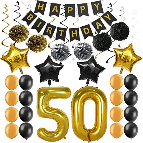 50th Birthday Party Decorations Kit Supplies, Happy Birthday Banner Sparkling Celebration Hanging Swirls Poms Star Foil Balloons for 50th Birthday Party Supplies Photo Props