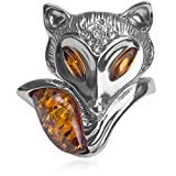 Amber Sterling Silver Fox Ring