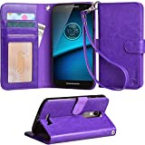 Droid Turbo 2 Case, Arae Motorola Moto Droid Turbo 2 wallet case,[Wrist Strap] Flip Folio [Kickstand Feature] PU leather wallet case with ID&Credit Card Pockets For Moto Turbo 2 (Purple)