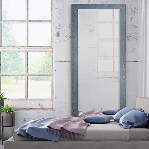 WEXFORD HOME Barnwood Wood Distressed True Gray Full Length Mirror, One Size