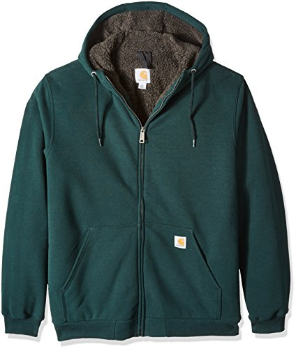 Carhartt Men's Big & Tall Collinston Brushed Fleece Sherpa Lined Sweatshirt, Canopy Green, 2X-Large/Tall Big And Tall Fleece Sweatshirt