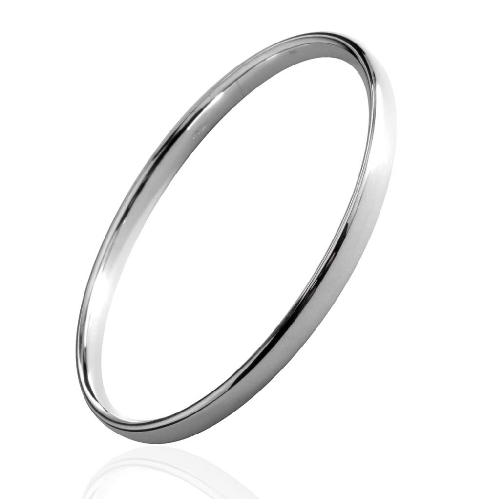 "Heavy Slave 5 mm Flat BANGLE Bracelet 925 Sterling Silver Solid British Hallmark Circumference 8.60"" / 22 cm, 5 mm Wide"