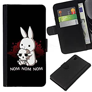 KingStore / Leather Etui en cuir / Sony Xperia Z1 L39 / Nom Nom Nom divertido Killer Rabbit