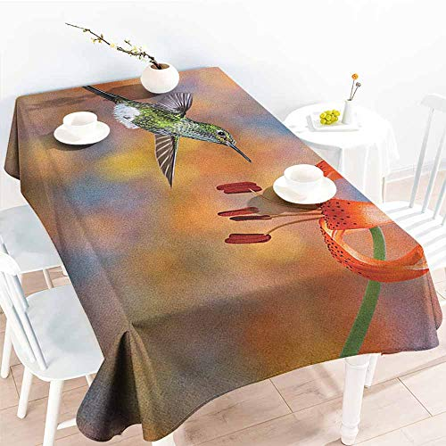 Nectar Vineyards (EwaskyOnline Waterproof Table Cover,Hummingbird The Booted Racket Tail Feeding Nectar from Tiger Lily Blur Background Photo,Table Cover for Dining,W60X90L, Orange Green)
