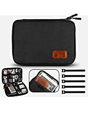GiBot Cable Organiser Bag,Travel Electronics Accessories Bag Organiser for Cable,Double Layer,Black