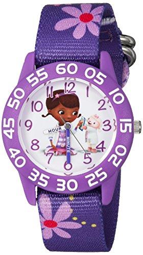 Disney Girl's 'Doc Mcstuffins' Quartz Plastic and Nylon Casual Watch, Color:Purple (Model: WDS000287)