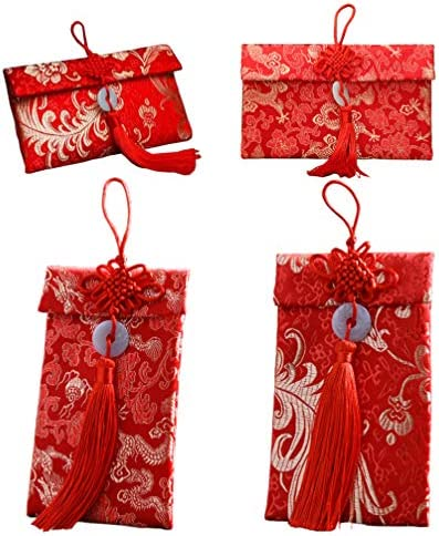 Toyvian シルク赤い封筒中国hongbaoラッキーマネー刺繍バッグノット用結婚式新年装飾4ピース