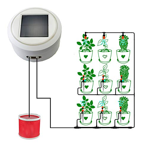AiHitech Solar Automatic Watering Flowers System with Smart Timer Irrigation Controller for Indoor Outdoor Garden Plants by AiHitech