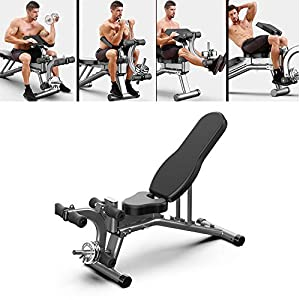 Adjustable Weight Bench Press ,leg Extension Flat/Incline/Decline Utility Bench Press 12 Ways to Exercise for Home Gym Easy to Assemble,men Women Kids(Maximum Load:300lb)