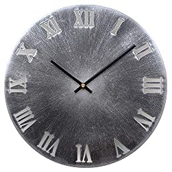 Yazhben Home Retro Metal Industrial Wall Clock,12 Inch Round Roman Numerals Easy to Read Battery Operated Non-Ticking Small for Living Room (Roman Numerals Grey, 12 Inch)