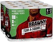 Brawny Tear-A-Square Paper Towels, 12 = 24 Regular Rolls, 3 Sheet Size Options, Quarter Size Sheets, 12 Count,