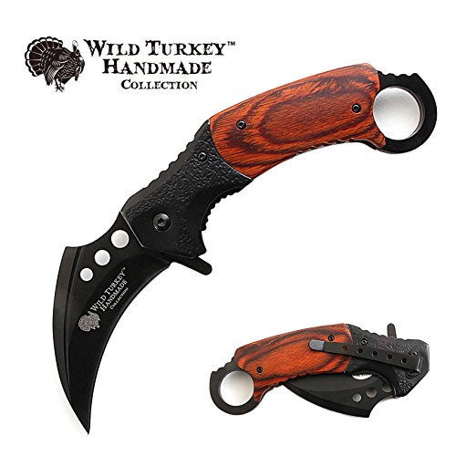 Wild Turkey Handmade Heavy Duty Hawk Bill Designed Karambit Spring Assisted Knife Hunting Camping Fishing Outdoors Lightning Fast Deployment - Razor Sharp Blade (Black)