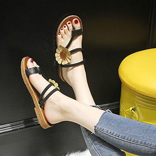 sandali outdoor Confortevole black flip piedi flop da estate antislittamento spiaggia ladies' fiore clip scarpe YMFIE ax1O5wx
