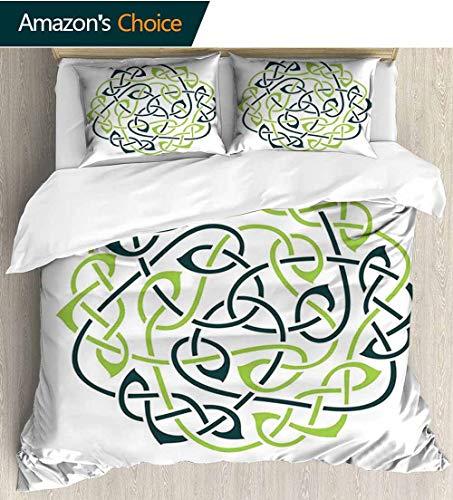 (shirlyhome Celtic Style 3D Digital Print Bedding Sets,Digital Large Celtic Knots Pattern in Vintage Design Irish Folk Design Art Print 100% Cotton Beding Linens for Kids Children 87