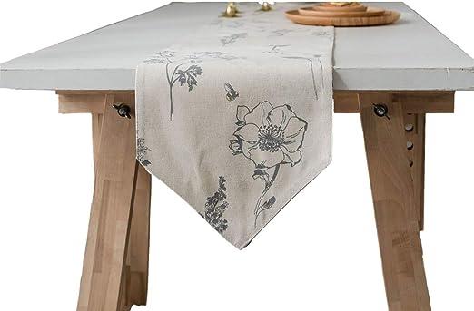 YMJJ Camino de Mesa Vintage Elegante Dibujo Flor Camino de Mesa de ...