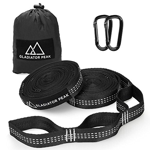 Gladiator Peak Hammock Straps, Hammock Tree Straps Set, Extra Long Lightweight Hammock Straps With Adjustable Loops,No Stretch Polyester,Tree Friendly,Quick&Easy Setup Best Suspension System (White) by Gladiator Peak