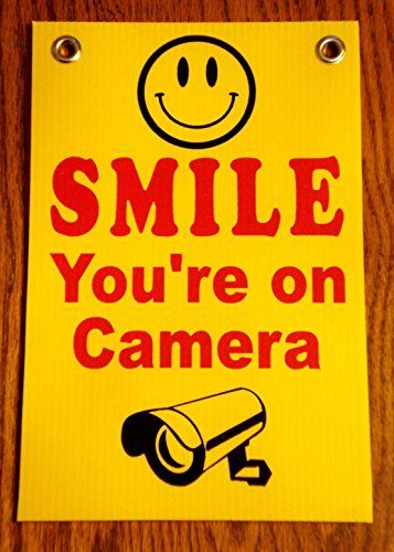 1 Pc Superior Popular Smile You're On Camera Security Signs 24Hr Protection Surveillance Being Watched Size 8