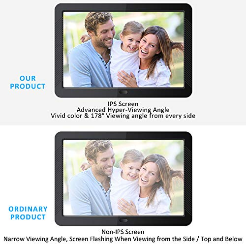 Digital Picture Frame with HD IPS 180 Degree Wide Viewing Angle with Remote Control Digital Photo Frame 7 Inch Display Photos with Background Music 1080P Video Support USB SD Slot Black