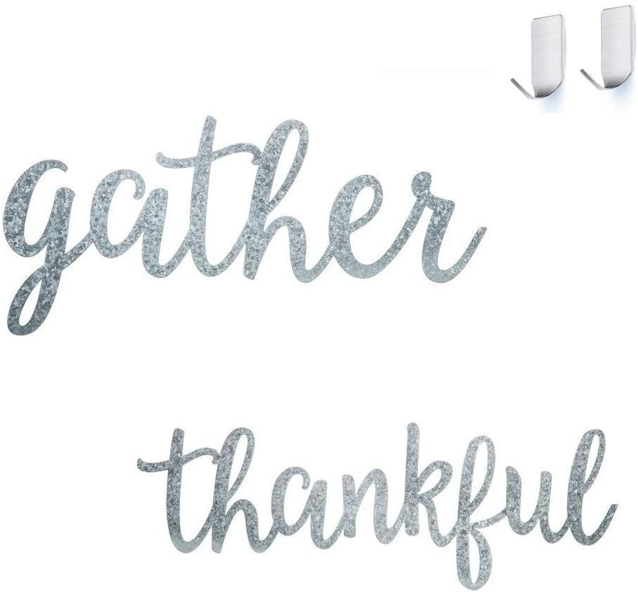 Gather & Thankful Galvanized Metal Signs - Set of 2 Inspirational Kitchen Wall Décor Art Signs - Two Bonus Self Adhesive Wall Hooks