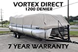 Vortex 1200DTAN/BEIGE 22' Ultra 3 Pontoon/Deck Boat Cover, HAS Elastic and Straps FITS 20'1' to 21' to 22' FT Long Deck Area, UP to 102' Beam 1 to 4 Business Day DELIVERY