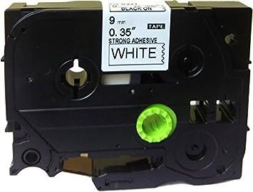 1PK TZe-S221 For Brother GL-100 PT-1010 Ex-Strength Black//White Label Tape 9mm