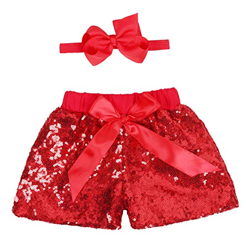 (Baby Girls Shorts Kids Sparkle Toddler Sequin Shorts Glitter on Both Sides Birthday Outfits Headband Red 3T)