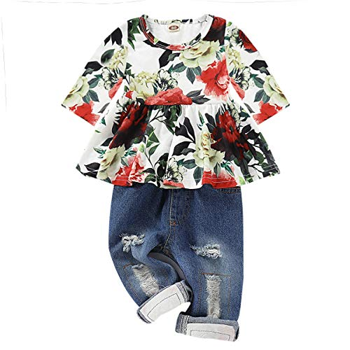 CARETOO Girls Clothes Outfits, Cute Baby Girl Floral Long Sleeve Pant Set Flower Ruffle Top Green ()