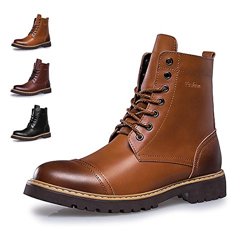 Dress Leather Boots Men Cap Work Boot Boots Fashion Waterproof Tan Brown1 Motorcycle amp;BENNA Boot Toe ENLEN Boot Casual Combat XqwnOZX