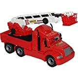 Wader American Fire Truck Toy, Realistic Extendable Fireman Ladder Really Works, No Noise & Durable Design