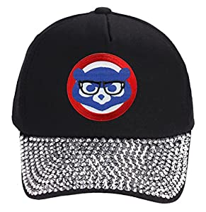 Chicago Cubs Hat With Joe Maddon Harry Caray Glasses - Cool Black Rhinestone Womens