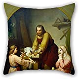 Throw Pillow Covers 16 X 16 Inches / 40 By 40 Cm(twice Sides) Nice Choice For Bench,bf,coffee House,festival,teens Boys,car Oil Painting Rafael Flores - The Holy Family