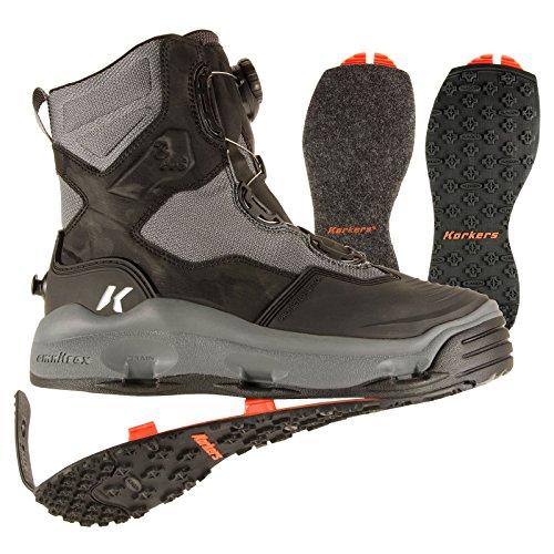 - Korkers DarkHorse Wading Boots Mens 8 Felt & Kling-On