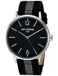 Ben Sherman Men's 'Portobello Stripe' Quartz Stainless Steel and Leather Automatic Watch, Multi Color (Model: WB044BA)