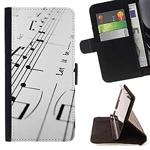 For Samsung Galaxy S6 EDGE - Music Notes /Funda de piel cubierta de la carpeta Foilo con cierre magn???¡¯????tico/ - Super Marley Shop -