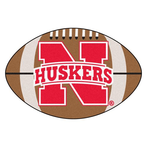 FANMATS NCAA University of Nebraska Cornhuskers Nylon Face Football Rug Nebraska College Rug