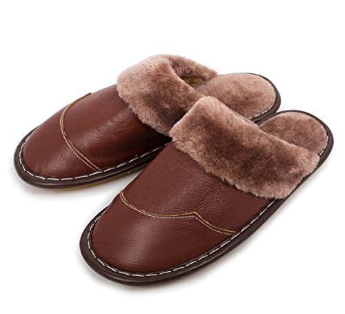 Men Winter Genuine Leather Slippers, Haisum Warm Faux Fur Lining Plush Mules Slipper, Closed Toe and Back House Shoes with Rubber Sole, for Indoor Outdoor