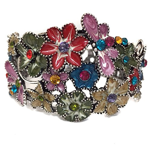 (Multi Color Enamel Flower Dragonfly Butterfly Rhinestone Crystal Hinged Bangle Bracelet)