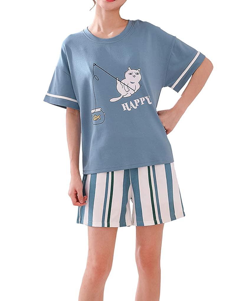 Vopmocld Young Girls Summer Pajama Short Cute Cat Pattern Nighty Comfy Cotton Sleepwear 2pcs