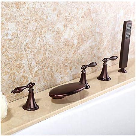 温水と冷水を備えたORB浴槽の蛇口5穴3穴3ハンドルの滝浴室の浴槽の蛇口デッキマウントバスシャワーミキサータップハンドヘルドシャワー