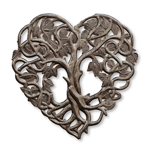 (Heart Wall Decor, Tree of Life, Decoration of Love and Friendship Wall Hanging Plaque, Peace, Handmade in Haiti, 16 x 16 Inches (Heart Shaped Tree))