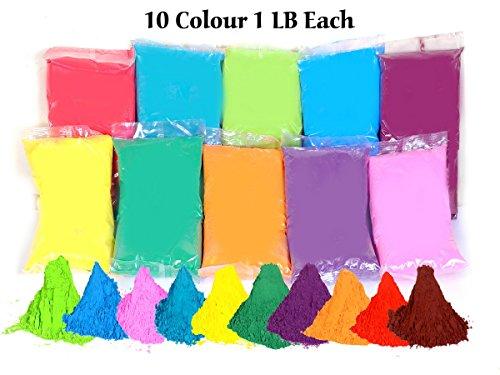 CraZeeColors Holi Color Powder Pack of 10 x 1 LB each. Green, True blue, Yellow, Red, Purple, Dark blue, Pink, Orange, Vermilion, - Dark Vermilion
