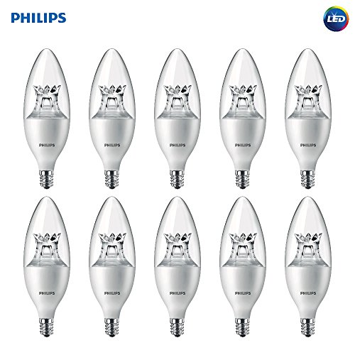 Philips LED Dimmable B12 Clear Light Bulb with Warm Glow Effect: 500-Lumen, 2700-2200-Kelvin, 7-Watt (60-Watt Equivalent), E12 Candelabra Base, Soft White, 10-Pack - Fixture Ceiling Earth