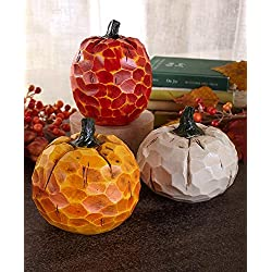 Holiday Designs Small Carved Pumpkin Set of 3 - Fall or Thanksgiving Decoration or Table Centerpiece Decor