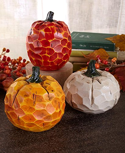 Thanksgiving Set Pumpkin - Holiday Designs Small Carved Pumpkin Set of 3 - Fall or Thanksgiving Decoration or Table Centerpiece Decor